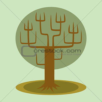 Green tree with trunk and branches