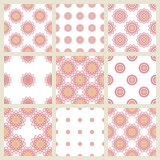 Set of 9 seamless   patterns in pastel