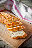 french bread baguette and linen napkin