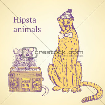 Sketch fancy animals  in vintage style