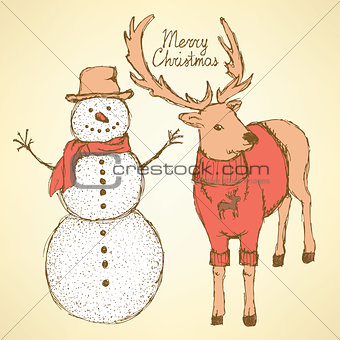 Sketch snowman and rain deer