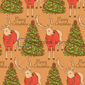 Sketch Christmas reindeer and New Year tree vintage style