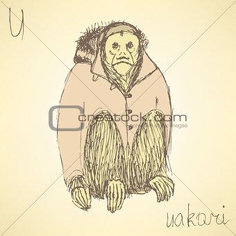Sketch fancy uakari in vintage style