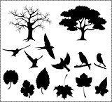 silhouette vector of tree birds and leaves