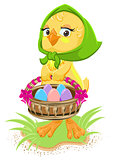 Easter - chicken holding a basket of eggs