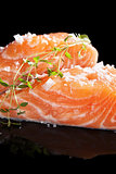 Fresh salmon close up.