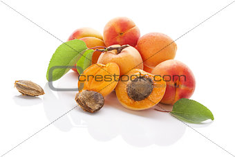 Apricots isolated on white background.