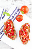 Delicious bruschetta background.