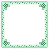 Celtic green frame, border pattern - vector
