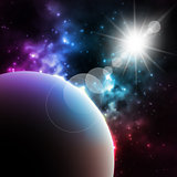 Photorealistic Galaxy background with planet and shining sun . Vector illustration