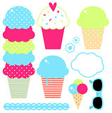Design collection of summer colorful ice creams