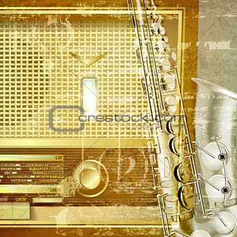 abstract grunge background with retro radio and saxophone