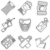 Set of black line vector icons for paintball