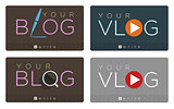 Vector set of blog and vlog icons