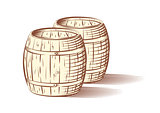 Vector illustration of beer or wine barrels