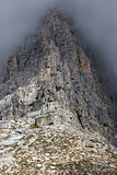 Rock face in Tre Cime National Park, Dolomites, Italy
