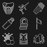 White flat line vector icons for paintball equipment