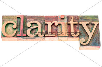 clarity word in wood type