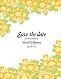 Save the date wedding invite card template with golden flowers