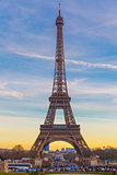 Eiffel tower at winter suset in Paris, France