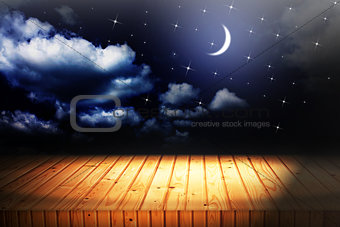 backgrounds night sky with stars and moon and clouds. wood