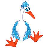 Funny stork sitting