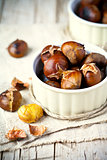 roasted chestnuts in bowls
