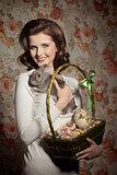 happy girl with tender rabbit