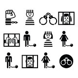 Prisoner, crime, slavery vector icons set
