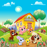 Funny farm animals in the garden
