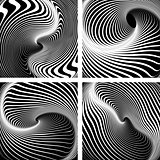 Vortex movement. Op art patterns set.