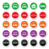 Hotel, hostel, B&B with stars round buttons set