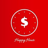 happy hour background with clock