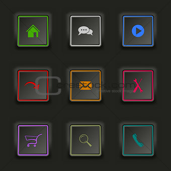 Flat color web buttons square on a dark background