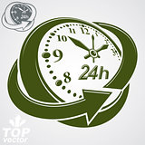 3d vector round 24 hours clock with arrow around, simple version