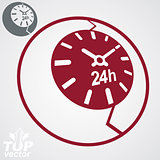 Contemporary red vector stylized 24 hours detailed icon, additio