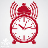 Elegant alarm clock vector 3d illustration with podcast sign, cl