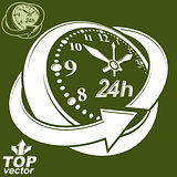 3d vector round 24 hours clock with arrow around, invert version