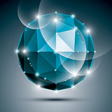 Abstract 3D sapphire gleam sphere with sparkles, turquoise preci