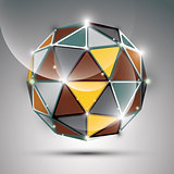 Abstract 3D gold shiny sphere with sparkles, metal festive orb c