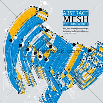Abstract 3d mesh vector background, clear eps 8.