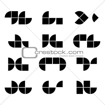 Abstract geometric simplistic symbols set, vector abstract icons