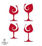 Beautiful vector sophisticated wine goblets, alcohol theme illus