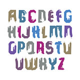 Handwritten colorful vector uppercase letters, stylish letters s