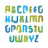Multicolored handwritten uppercase letters, vector doodle brush