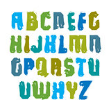 Handwritten multicolored vector uppercase letters isolated on wh