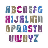 Uppercase calligraphic brush letters, hand-painted bright vector