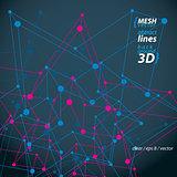 Clear eps 8 engineering vector illustration, 3d mesh symbol isol