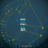 Collection of 3d mesh four-sided abstract objects isolated on da