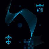 Dimensional motif elegant flowing curves, dark background in mot